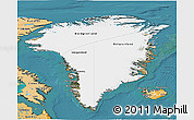 Satellite 3D Map of Greenland, political shades outside, satellite sea