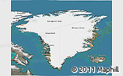 Satellite 3D Map of Greenland, semi-desaturated, land only