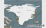 Satellite 3D Map of Greenland, semi-desaturated