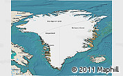 Satellite 3D Map of Greenland, shaded relief outside, satellite sea