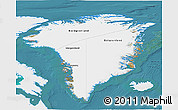 Satellite 3D Map of Greenland, single color outside