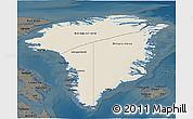 Shaded Relief 3D Map of Greenland, darken