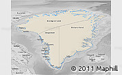 Shaded Relief 3D Map of Greenland, desaturated