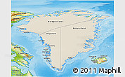 Shaded Relief 3D Map of Greenland, physical outside