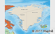 Shaded Relief 3D Map of Greenland, political outside, shaded relief sea