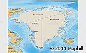 Shaded Relief 3D Map of Greenland, political shades outside, shaded relief sea