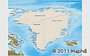 Shaded Relief 3D Map of Greenland, satellite outside, shaded relief sea