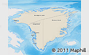 Shaded Relief 3D Map of Greenland, single color outside
