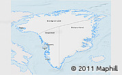 Silver Style 3D Map of Greenland, single color outside