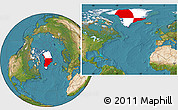 Flag Location Map of Greenland, satellite outside