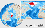 Flag Location Map of Greenland, shaded relief outside