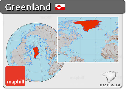 Gray Location Map of Greenland