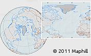 Gray Location Map of Greenland, lighten, hill shading