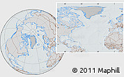 Gray Location Map of Greenland, lighten, semi-desaturated, hill shading