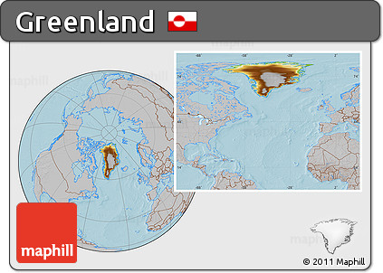 Physical Location Map of Greenland, gray outside, hill shading
