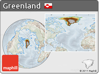 Physical Location Map of Greenland, lighten, semi-desaturated