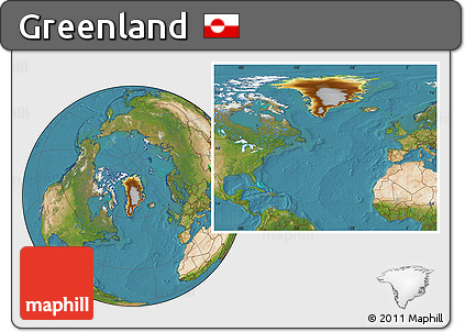 Physical Location Map of Greenland, satellite outside