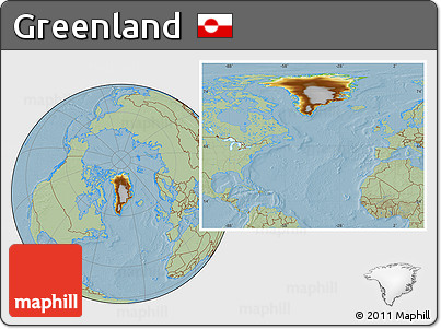 Physical Location Map of Greenland, savanna style outside, hill shading