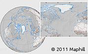 Satellite Location Map of Greenland, lighten, desaturated