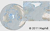 Satellite Location Map of Greenland, lighten, semi-desaturated