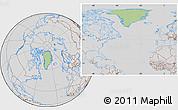 Savanna Style Location Map of Greenland, lighten, desaturated