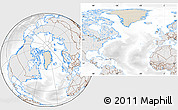 Shaded Relief Location Map of Greenland, lighten, desaturated