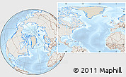 Shaded Relief Location Map of Greenland, lighten