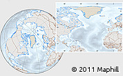 Shaded Relief Location Map of Greenland, lighten, semi-desaturated