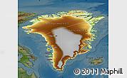 Physical Map of Greenland, darken