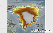Physical Map of Greenland, darken, semi-desaturated