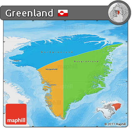 Free Political Map of Greenland single color outside