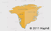 Political Shades Map of Greenland, cropped outside