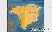 Political Shades Map of Greenland, darken