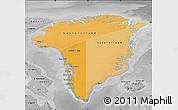 Political Shades Map of Greenland, desaturated