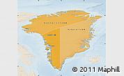 Political Shades Map of Greenland, lighten