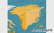 Political Shades Map of Greenland, satellite outside