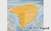 Political Shades Map of Greenland, semi-desaturated
