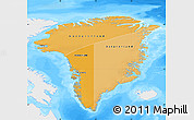 Political Shades Map of Greenland, single color outside, bathymetry sea