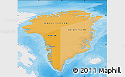 Political Shades Map of Greenland, single color outside