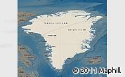 Shaded Relief Map of Greenland, darken