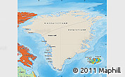 Shaded Relief Map of Greenland, political outside, shaded relief sea