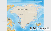 Shaded Relief Map of Greenland, political shades outside, shaded relief sea