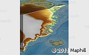Physical 3D Map of Ostgronland, darken