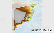 Physical 3D Map of Ostgronland, lighten