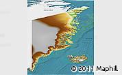 Physical 3D Map of Ostgronland, satellite outside
