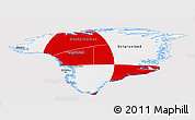 Flag Panoramic Map of Greenland, flag centered