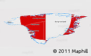 Flag Panoramic Map of Greenland, flag aligned to the middle