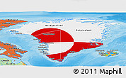 Flag Panoramic Map of Greenland, political outside