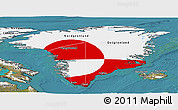 Flag Panoramic Map of Greenland, satellite outside