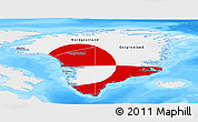 Flag Panoramic Map of Greenland, single color outside, bathymetry sea